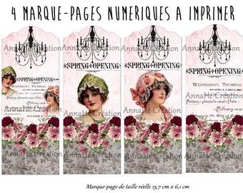 "4 bookmarks digital print ""Leontine boudoir"""