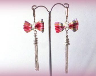 Plaid bow earrings