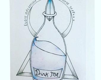 """Alice in wonderland """"drink me"""" bottle"""