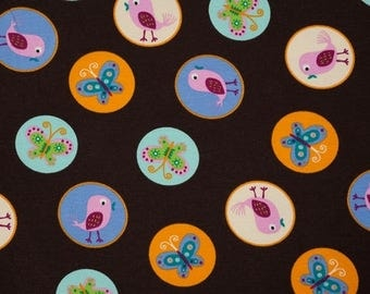 Birds Brown background jersey fabric