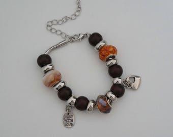 "Bracelet style ""Pandora"" - Wood"