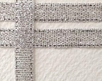 Silver shiny Ribbon metallized way organza 7mm coil 22 m