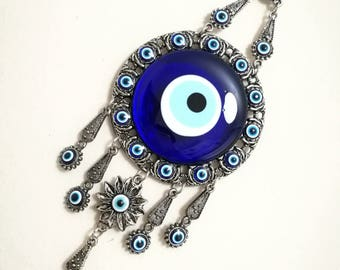 Turkish nazar evil eye wall hanging - decor evil eye-good luck evil eye-amulet wall ornament-special gift-housewarming