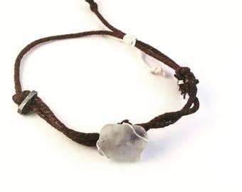 White Sea Glass Adjustable Bracelet