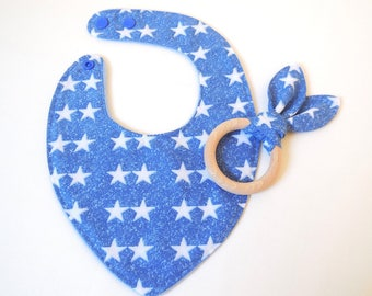 Bib and teething sensory - cotton and fleece - blue color ring