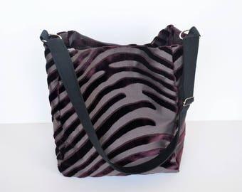 Tote bag shoulder tote bag, Burgundy velvet and cotton