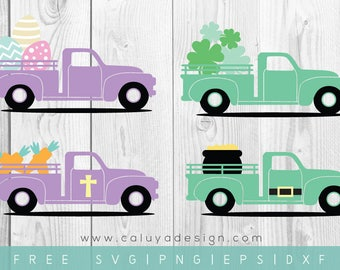 FREE SVG & PNG Link |  Easter, St.Patrick's day Cut Files, svg, png, dxf, eps | Commercial Use | circuit, cameo silhouette | Truck Clipart