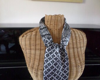 black and white scarf made with three coordinating fabrics