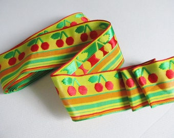 Set of 3 meters of striped Ribbon and ceries 40 mm