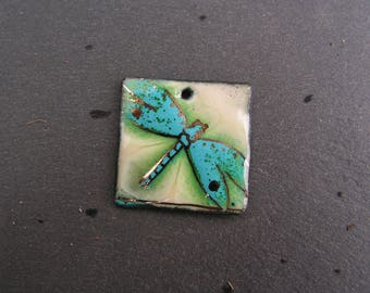 copper charm enamelled (hot) Dragonfly necklace pendant