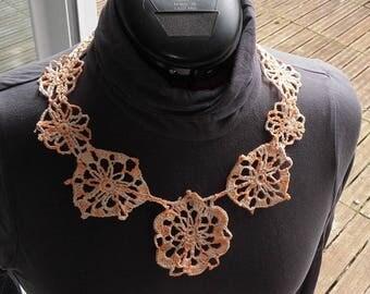 Salmon Orange monochrome crochet necklace