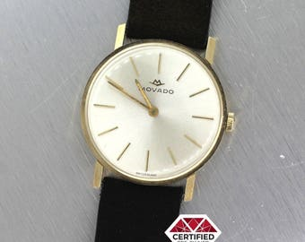 Vintage Movado 14k SolidYellow Gold Silver Dial Leather Wrist Watch