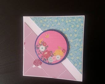 Flowers and birds greeting card blank inside