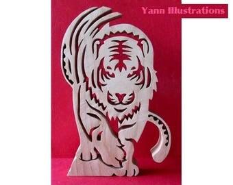 """""""Tiger"""" 2 in fretwork wooden sculpture"""
