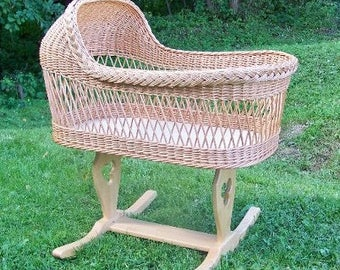 NEW Willow Baby Crib Wicher Bassinet / Natural Baby sleeping basket bed/ Handmade