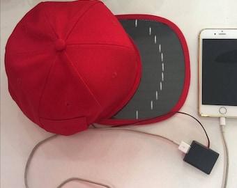 Solar Panel Powered Snapback Cap USB Port Charger Hat