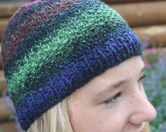 multi-colored wool blend beanie hat