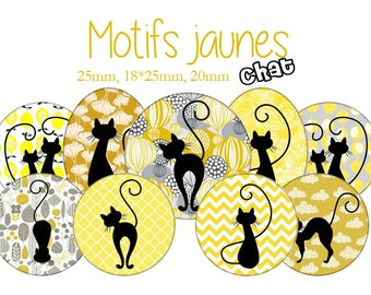 "Cabochons collage sheet / digital ""Pattern yellow cats, oranges, lemons, Chick, gold, Canary"" round"
