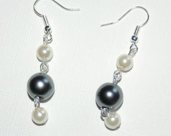 Grey and Ivory Pearl Earrings