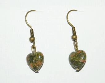 Unakite hearts earrings