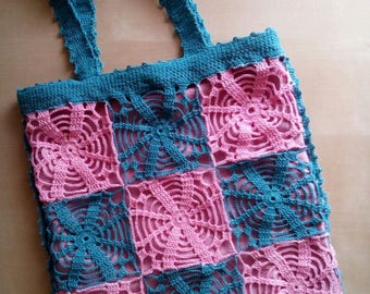 lace crochet bag shopping bag cotton granny square motif by hand or over the shoulder