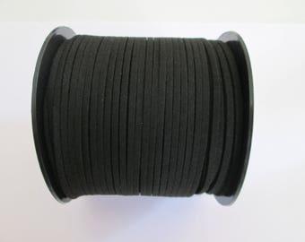 1 mètre cordon plat suédine largeur 2.5 mm couleur : noir