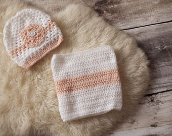 Hand knitted set Hat + girl snood