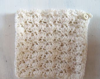Hand knitted baby bonnet color ecru wool