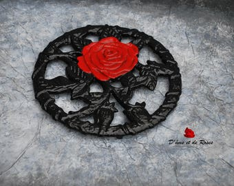 metal with a red rose coaster