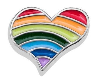 Rainbow Heart Floating Charm