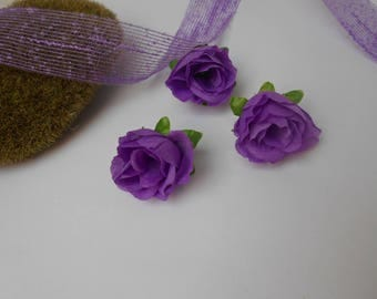 3 artificial purple roses - between 3 and 4cm