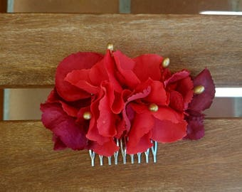 Fabric flower comb