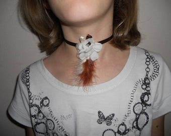 """Child Ribbon necklace or adult flower ivory """"Wedding March"""""""