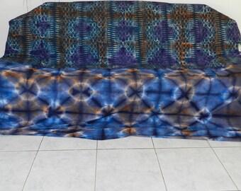Pleas bedspread and throw Ref-Ing-06 vintage indigo blue tie-dye patchwork. 260 cm x 240 cm