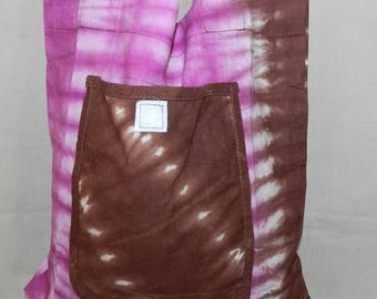 Tote Bag shopping fabric grocery bag cotton tie-dye African Brown and purple