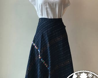 Long type Denim Jeans colored embroidered skirt handmade