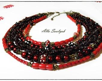 Handmade necklace, pomegranate, natural coral, Venetian glass, Ukrainian hutsul style