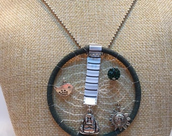 Buddha green dream catcher necklace