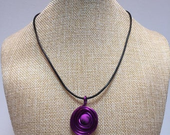 Necklace with pearl purple aluminum wire jewelry