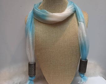 Very airy blue fabric scarf necklace