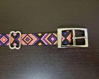 "1"" Girly Geometric Jacquard Dog Collar"