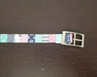 """3/4"""" Pink and Aqua Nautical Dog Collar"""