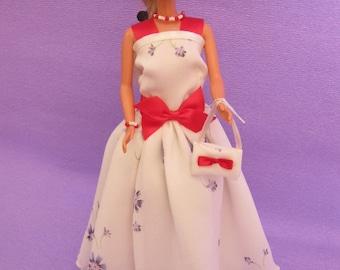 Dress in chiffon with tiny purple flowers (B181)