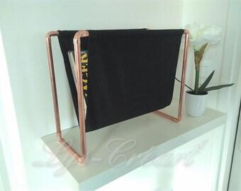 Magazine rack brass and fabric pattern tone on tone