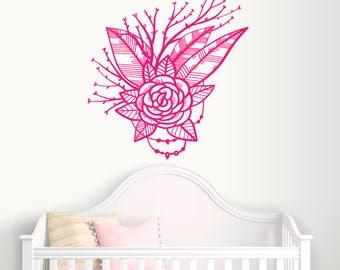 Boho Floral Wall Decal-Nursery Wall Decals-Wall Stickers-Dorm Decor-Flower Vinyl Decals-Wall Art Murals Bedroom-Vinyl Wall Decal-Kids Decor