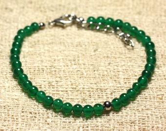 925 sterling silver and semi precious 4mm Green Onyx stone bracelet