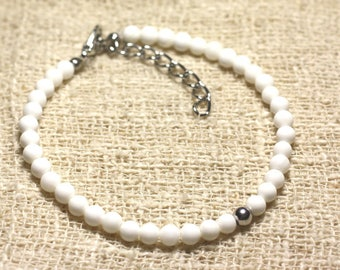 Bracelet 925 sterling silver and white 4mm mother of pearl beads