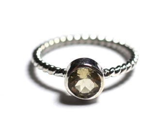 N231 - Ring 925 sterling silver and stone - Citrine 6 mm ring twist