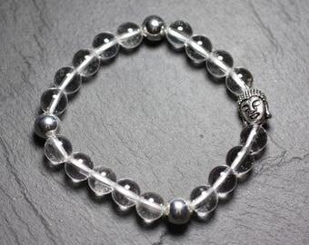 Buddha and gemstone - rock Quartz Crystal bracelet