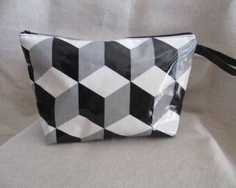 "Toilet bag ""cubik"" fabric coated"
